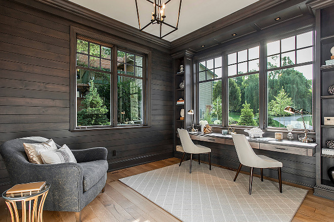 dark-stained-shiplap-walls-den-with-dark-stained-shiplap-walls Hendel Homes. Vivid Interior Design - Danielle Loven.
