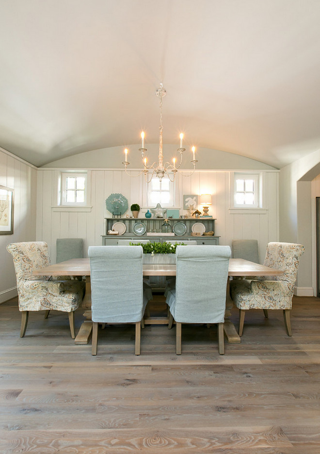 Dining room wainscoting, arched ceiling and white oak plank hardwood flooring. Coastal Dining room wainscoting, arched ceiling and white oak plank hardwood flooring. #Diningroom #wainscoting #archedceiling #whiteoakplank #hardwoodflooring Coralberry Cottage
