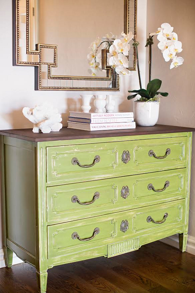Distressed green dresser. Distressed dresser. The green dresser is from a local antique store and the gold mirror is from Horchow. distressed-green-dresser #Distresseddresser #greendresser #Distressed #dresser Ivy House Interiors