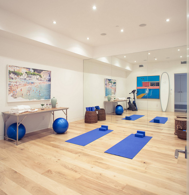 "Yoga Room. Home Yoga Room. Yoga room flooring. The yoga room flooring is bleached walnut. 7"". #yogaroom #yogaroomflooring Building Solutions and Design, Inc. Building Solutions and Design, Inc. (Photo credit: Charles-Ryan Barber Architect: Nadav Rokach)"