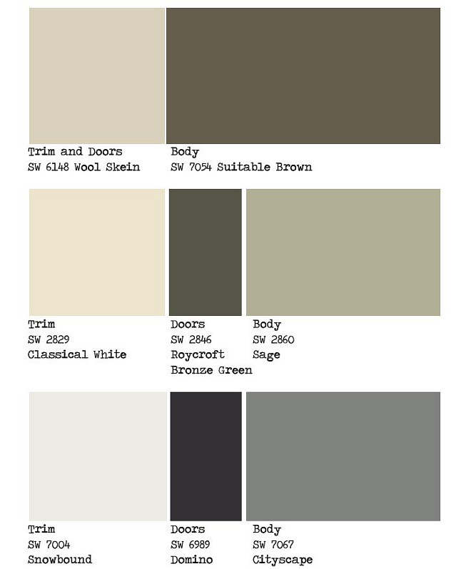 Exterior Paint Color Palette Ideas. Trim, doors and siding paint color. Warm exterior paint color. Exterior color scheme. Grey exterior paint color.