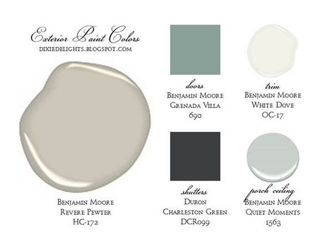 Exterior Paint Color Scheme. Siding paint color Benjamin Moore Revere Pewter HC 172. Door Paint Color Benjamin Moore Grenada Villa 690. Trim Paint Color Benjamin Moore White Dove OC 17. Shutters Paint Color Duron Charleston Green DCR099. Porch Ceiling Paint Color Benjamin Moore Quiet Moments. Via Dixie Delights