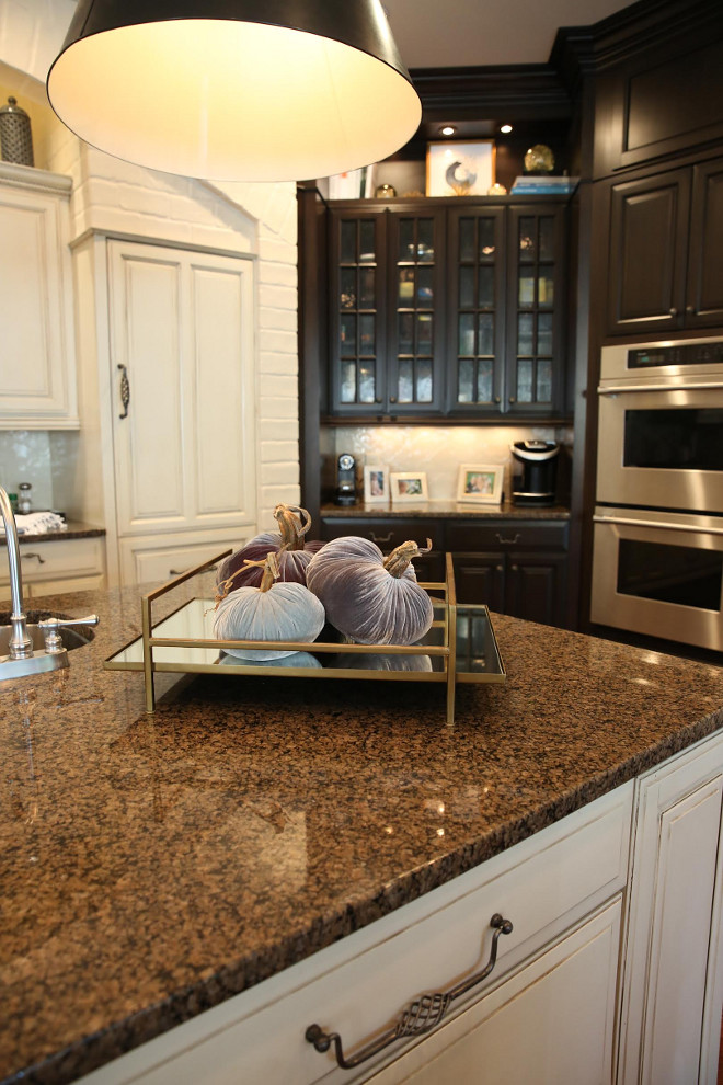 These cute velvet pumpkins add a fall touch to the kitchen countertop. Counters are granite. fall-kitchen-countertop-decor Home Bunch Beautiful Homes of Instagram bluegraygal