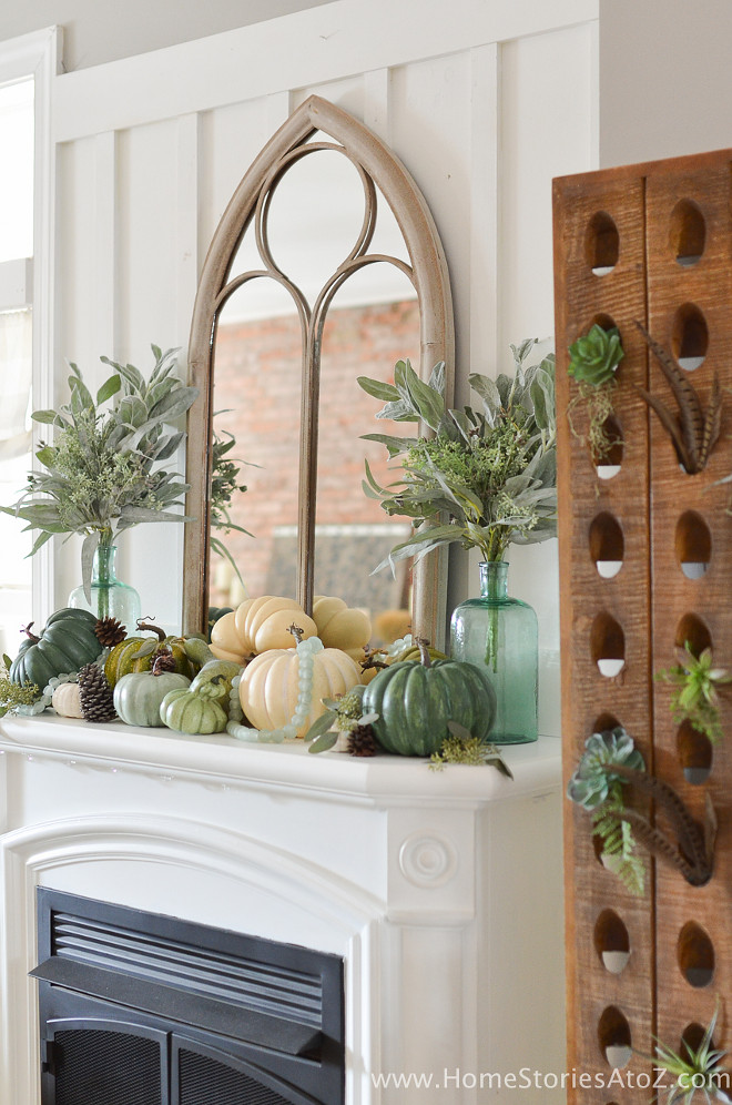 fall-mantel-with-painted-pumpkins-homestoriesatoz