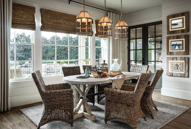 Farmhouse Dining room. Casual Farmhouse Dining room. Casual Farmhouse Dining room Design. Farmhouse Dining room with rustic farmhouse table and wicker chairs. #Farmhouse #Diningroom #FarmhouseDiningroom #rustic #farmhousetable #wickerchairs Outrageous Interiors
