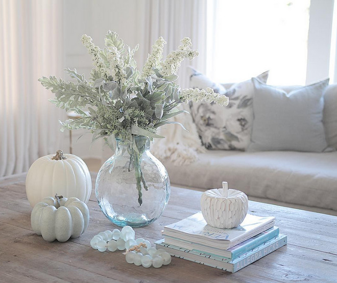 "Neutral Fall Decor with white faux pumpkin. Neutral Fall Decor. Neutral Fall Decor #NeutralFallDecor #FallDecor faux-pumpkin JShomedesign via Instagram. See Sonja's entire home on ""Beautiful Homes of Instagram"" on Home Bunch"