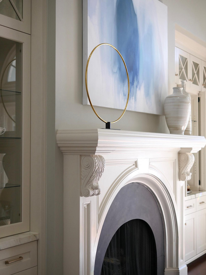 Sherwin Williams Divine White. White Fireplace Mantel and Cabinets Paint Color: Sherwin Williams Divine White. Sherwin Williams Divine White. Sherwin Williams Divine White #SherwinWilliamsDivineWhite Home Bunch Beautiful Homes of Instagram bluegraygal