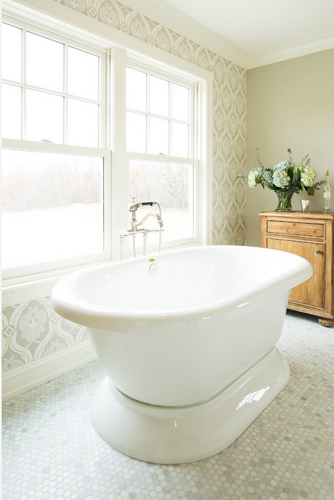 Revere Pewter by Benjamin Moore with neutral wallpaper. Wallpaper is Zoffany, Cordoba Design, sourced from Hirshfield's. Benjamin Moore Revere Pewter #BenjaminMooreReverePewter Hendel Homes