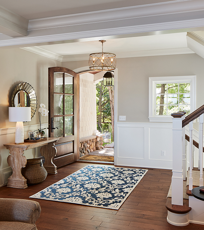 Foyer hardwood flooring. Wood is white Oak, riffed and quartered with custom stain. foyer-hardwood-flooring #Foyer #Hardwood #flooring #Wood #whiteOak #riffed #quartered #customstain Vivid Interior Design. Hendel Homes