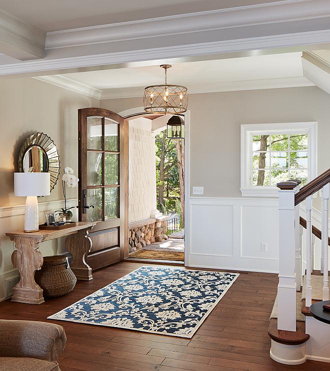 Foyer hardwood flooring. Wood is white Oak, riffed and quartered with custom stain. foyer-hardwood-flooring #Foyer #Hardwood #flooring #Wood #whiteOak #riffed #quartered #customstain Vivid Interior Design. Hendel Homes