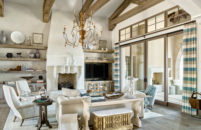 French Living room. French Living room ceiling beams. French Living room rustic floors. French Living room. #FrenchLivingroom #French #Livingroom DuChateau Floors Kim Scodro Interiors