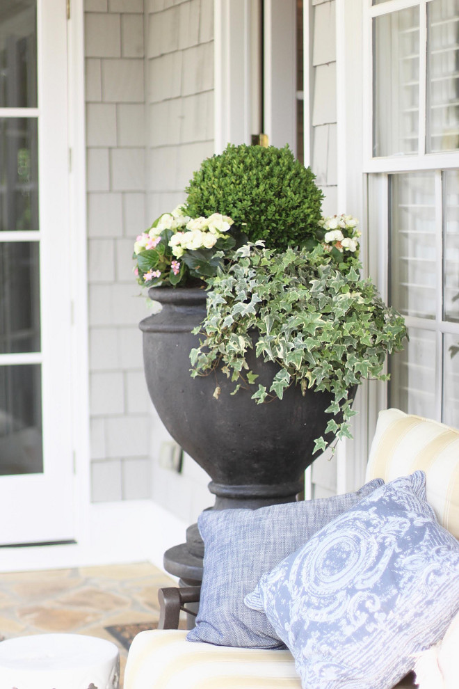 Front porch planter ideas. House trim paint color is Sherwin Williams SW 7004 Snowbound. front-porch-planter-porch-planter-front-porch-planter-porch-planter-frontporch-planter-porchplanter #Housetrim #paintcolor #SherwinWilliamSW7004Snowbound #SherwinWilliam #SW7004 #Snowbound Home Bunch Beautiful Homes of Instagram bluegraygal
