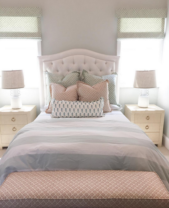 Girls bedroom bedding. Girls bedroom bedding ideas. Little girl bedroom bedding, duvet cover, pillows, shams. #Girlsbedroom #bedding #bedroom Brooke Wagner Design