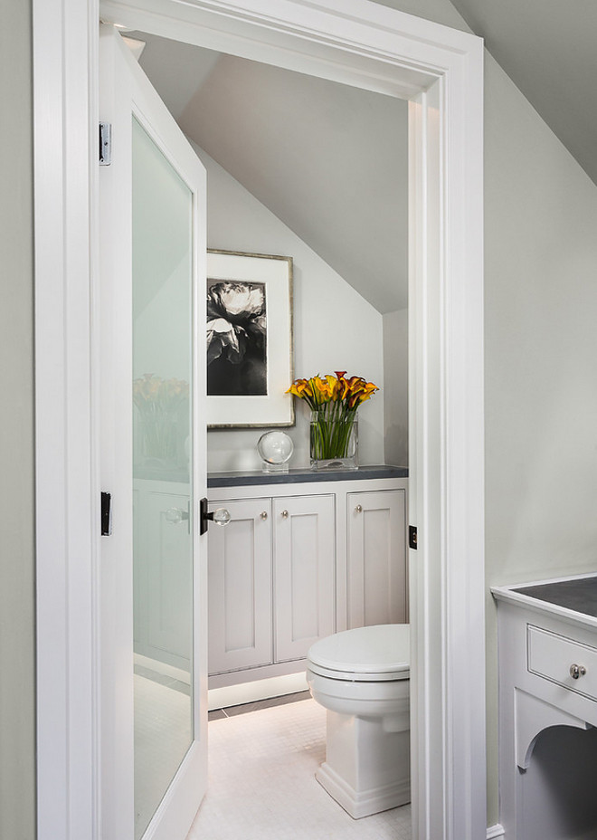 Gray bathroom paint color. Soft gray bathroom paint color. The paint used in this bathroom was Benjamin Moore Silver Chain 1472. Robert Frank Interiors. Clark Dugger Photography