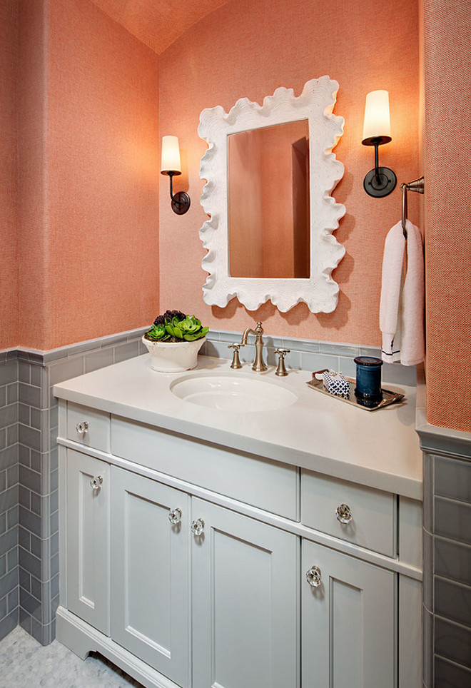 Grey bathroom with coral wallpaper. Grey bathroom with coral wallpaper. Coral wallpaper is Phillip Jeffries - Orange Opalescent. grey-bathroom-with-coral-wallpaper #graybathroom #bathroom #coralwallpaper #PhillipJeffries #OrangeOpalescent Tracy Lynn Studio