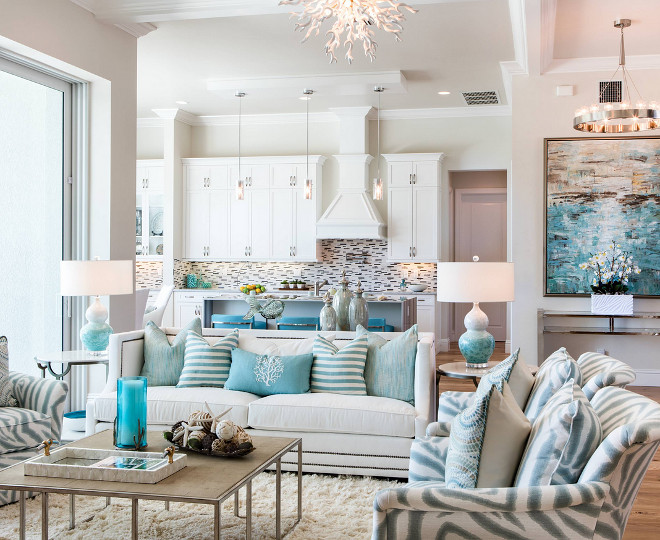 Florida beach house with turquoise interiors home bunch for Florida interior designs