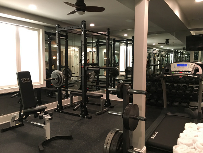 Home Gym. Basement Home Gym. Workout Equipment: Fitness Factory. Beautiful Homes of Instagram Sumhouse_Sumwear