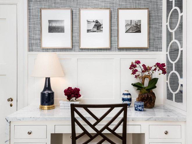 Home Office Wallpaper. Home Office Gray Wallpaper. The wallpaper used in this project was Phillip Jeffries Driftwood grasscloth and the color was Twilight Blue. Robert Frank Interiors. Clark Dugger Photography
