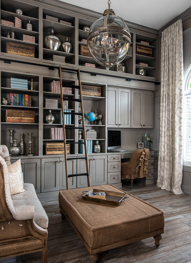 "Home office. Gray cabinet. Home office gray cabinet ideas. The cabinets came from Dura Supreme Cabinetry. The color is Heritage ""D"". home-office-with-gray-cabinet #homeoffice #graycabinet #homeofficecabinet Kate Benjamin Photography LLC (Dillman & Upton, SL Smith Design - Cabinet Designer: Lindsey Markel)"