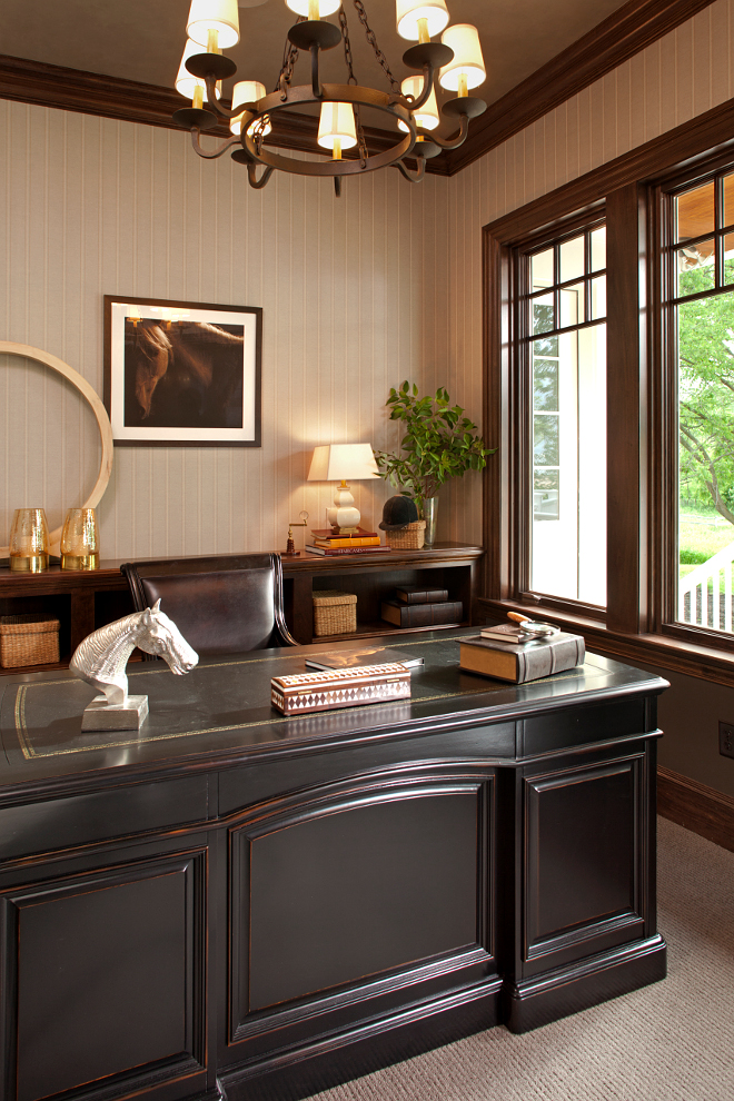 This is a home office that will never look outdated. I love this equestrian look. #Homeoffice #equestrian Vivid Interior Design. Hendel Homes
