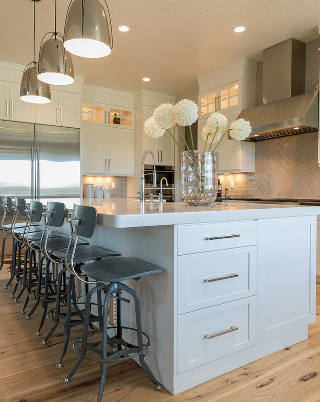 Gorgeous industrial style stools from Restoration Hardware are added to this modern farmhouse kitchen. Ribbon vase is from West Elm. Industrial Barstools are from Restoration Hardware. Industrial Barstools are from Restoration Hardware. Industrial Barstools are from Restoration Hardware #IndustrialBarstools #RestorationHardware industrial-barstools-kitchen-industrial-barstools Restyle Design, LLC.