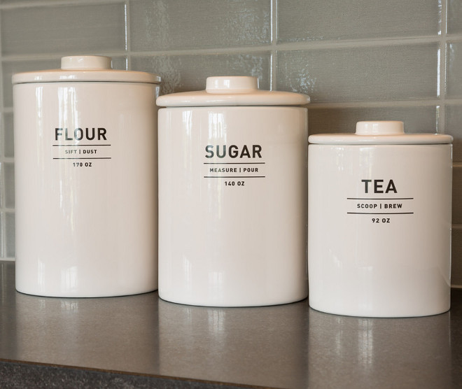 Kitchen Canisters. Take the time to style your home - these canisters from West Elm are so clean and pop against the kitchen backsplash. Kitchen countertop canisters. #kitchen #canisters kitchen-canisters Restyle Design, LLC.