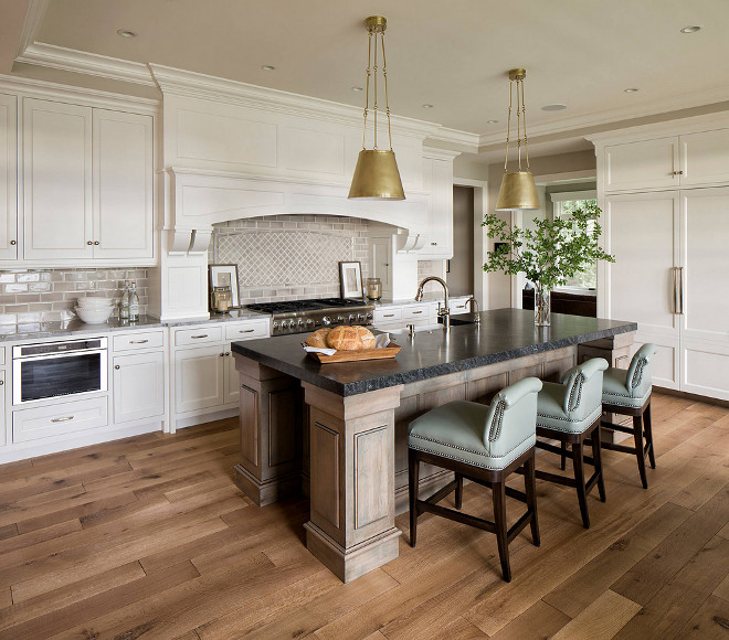Kitchen flooring. The kitchen flooring is a wide-plank, riffed and quartered white oak with a matte finish. kitchen-wood-flooring #kitchenflooring Hendel Homes. Vivid Interior Design - Danielle Loven
