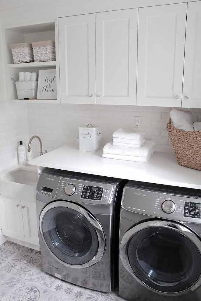 Laundry room with cement floor tile. White Laundry room with cement floor tile. Laundry room with cement floor tile. #Laundryroom #cementfloortile laundry-room-cement-tile JShomedesign via Instagram