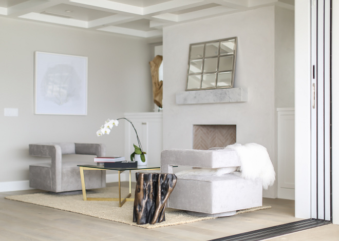 "Bedroom sitting are furniture. Master bedroom lounge chairs and swivel and custom designed and fabricated by the deisgner in a light gray velvet fabric. Coffee table and side table are from ""Restoration Hardware Modern"". Winkle Custom Homes. Melissa Morgan Design. Ryan Garvin Photography"