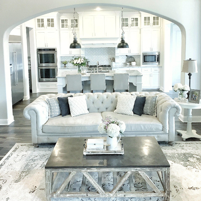 Farmhouse Living Room. Farmhouse Living Room. Farmhouse Living Room Furniture layout. Farmhouse Living Room opens to Farmhouse Kitchen #Farmhouse  #FarmhouseLivingRoom #FarmhouseKitchen mytexashouse