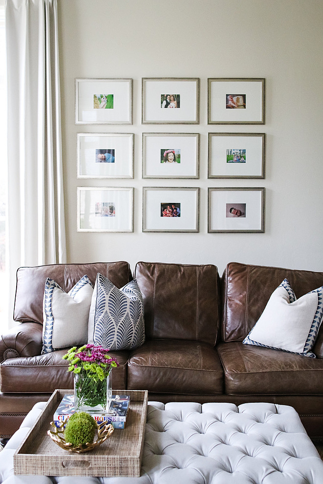 Gallery frame ideas. Gallery Frames: Custom Hobby Lobby. living-room-wall-gallery-above-sofa #gallery #frame #livingroom Home Bunch's Beautiful Homes of Instagram curlsandcashmere