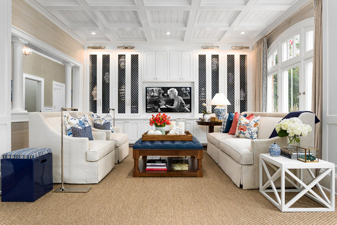 Living room. The millwork and coffered ceiling were painted using Dunn Edwards White Picket Fence. The walls were covered in Thibaut Coastal Sisal in Cream. #livingroom #sisal #cream #cofferedceiling #wallpaper #walls Robert Frank Interiors. Clark Dugger Photography