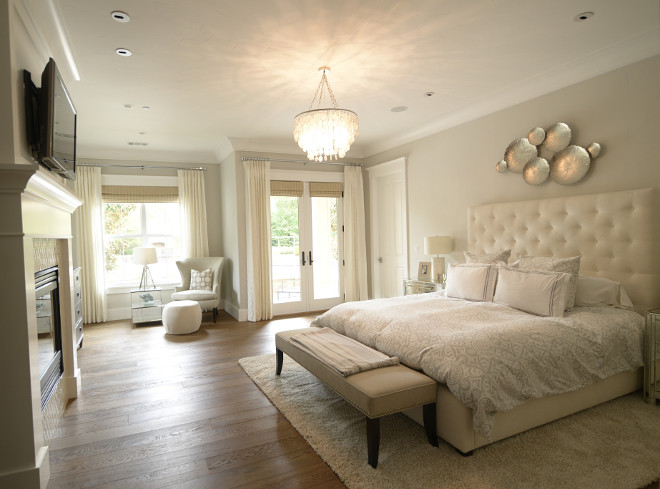 The same soft color palette found in the rest of the house continues in the master bedroom. Paint color is Silver Drop by Behr. master-bedroom-grey-and-white-master-bedroom Eye for the Pretty
