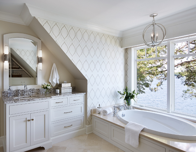 Benjamin Moore HC-84 Elmira White. Bathroom wall paint color is a neutral, soft beige paint color Benjamin Moore HC-84 Elmira White. Wallpaper is Harlequin. #neutral #softbeige #paintcolor #BenjaminMoore #HC84 #ElmiraWhite #BenjaminMooreHC84ElmiraWhite Vivid Interior Design. Hendel Homes