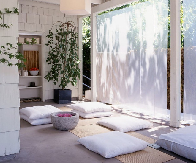 Meditation Room. Meditation Room. The draperies in this outdoor meditation room are made of antique sheer linen. Meditation Room. Meditation Room #MeditationRoom meditation-room Rozalynn Woods Interior Design