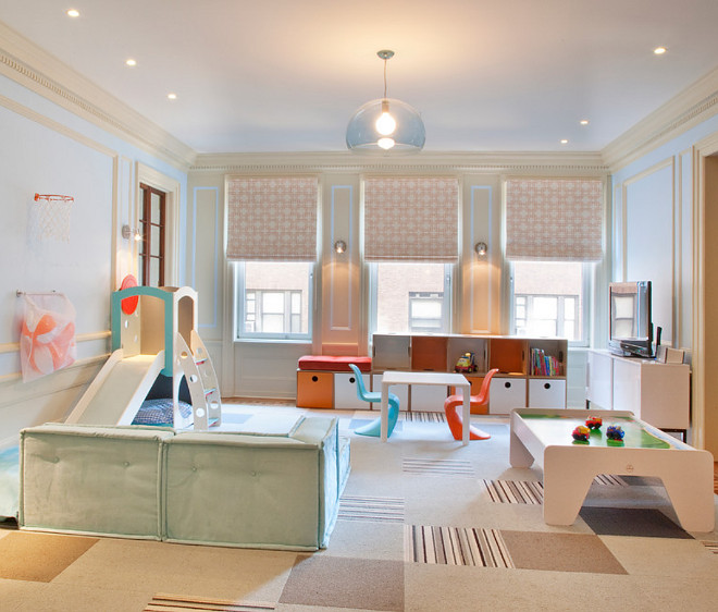Modern Playroom. West End Ave Modern Playroom. Modern Playroom Furniture. Modern Playroom Ideas #ModernPlayroom #playroom Lily Z Design Inc