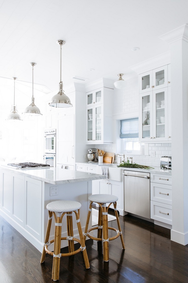 Modern coastal White Kitchen. This modern white coastal kitchen feels fresh and serene, yet also young and timeless Rita Chan Interiors Via Style me Pretty Living