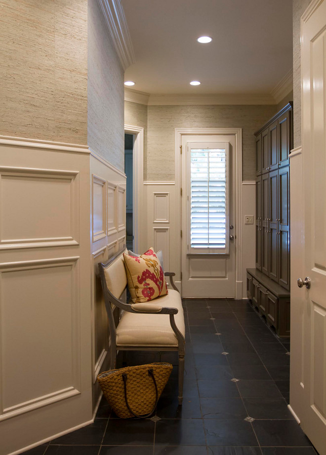 Mudroom grey cabinet paint color is Benjamin Moore Deep Creek 1477. Grey cabinet paint color is Benjamin Moore Deep Creek 1477. Wallcovering: York Grasscloth, Asian Naturals, Pattern JL-171. Wainscotting: Sherwin Williams Divine White. Cabinet Hardware: Restoration Hardware. Pillows: Ryan Studios. #BenjaminMooreDeepCreek1477 mudroom-raffia-wallpaper-above-wainscotting-closed-cabinets-and-slate-floor-tile-mudroom-raffia-wallpaper-above-wainscotting-closed-cabinets-and-slate-floor-tile #Mudroom #Raffia #Wallpaper #wainscotting #mudroomwainscotting #mudroomclosedcabinets #slatefloortile Home Bunch Beautiful Homes of Instagram bluegraygal
