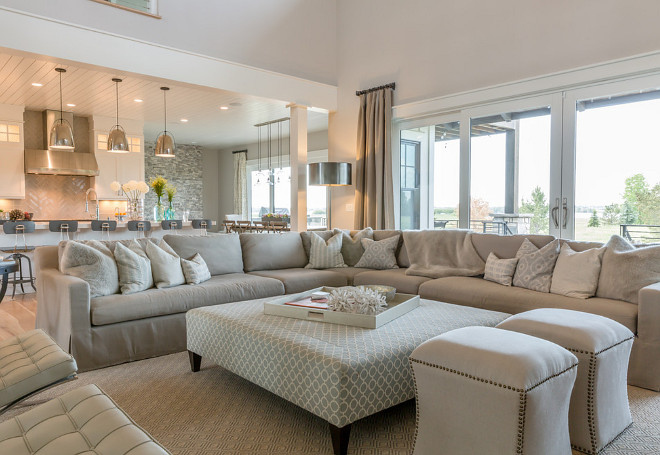 comfy living room. Neutral Living room  Sophisticated but comfy living featuring RH Belgian Linen slipcovered sectional Category Guest Picks Home Bunch Interior Design Ideas