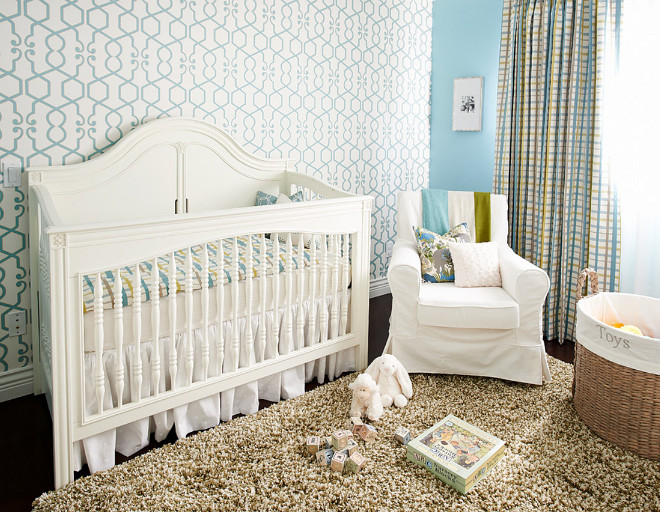 A nursery designed for a little boy. The white crib is from Young America. nursery #nursery #boysnursery Fina Designs