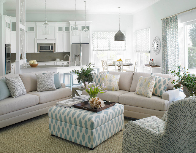 Open floor plan color scheme. Paint color is Palladian Blue by Benjamin Moore. Open floor plan color scheme ideas. Open Kitchen, kitchen nook and family room color scheme. Open Layout Color Scheme #Colorscheme #openfloor #openlayout Celtic Home Gallery