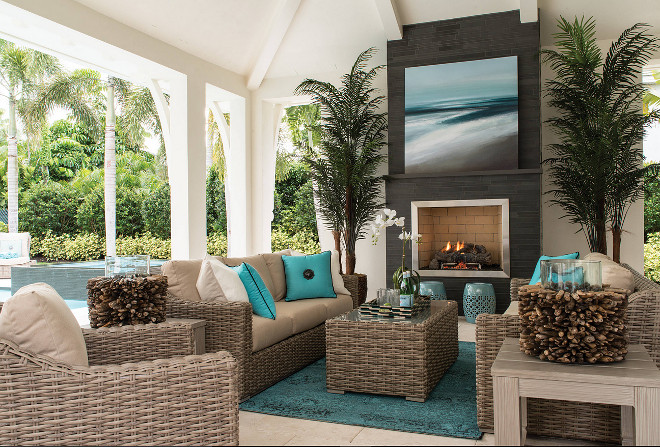 Patio Pillow and accessories. Neutral Patio with Turquoise Pillows and accessories. #Patio #Pillows #accessories. Gaddis Interiors Robb & Stucky