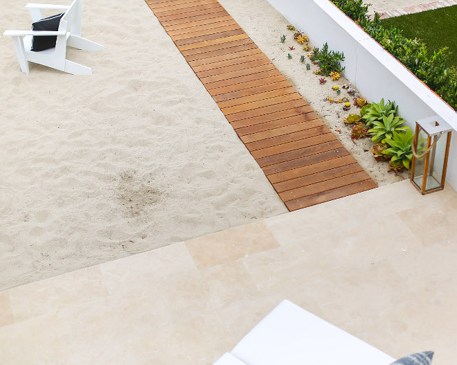 Patio Stone Floor Tile. Patio feature ¾ slab limestone cut into 2x3' tiles. Brushed finish for traction . The builder searched 30 vendors to find one that matched this particular beach sand. Winkle Custom Homes. Melissa Morgan Design. Ryan Garvin Photography