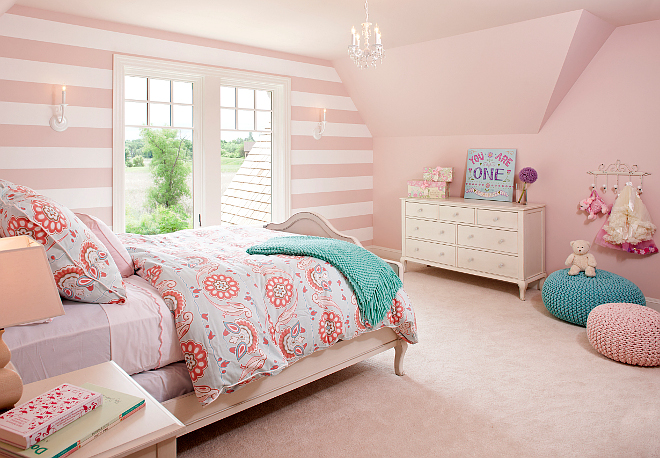pink striped bedroom classic east coast shingle style lakeside cottage home 12883