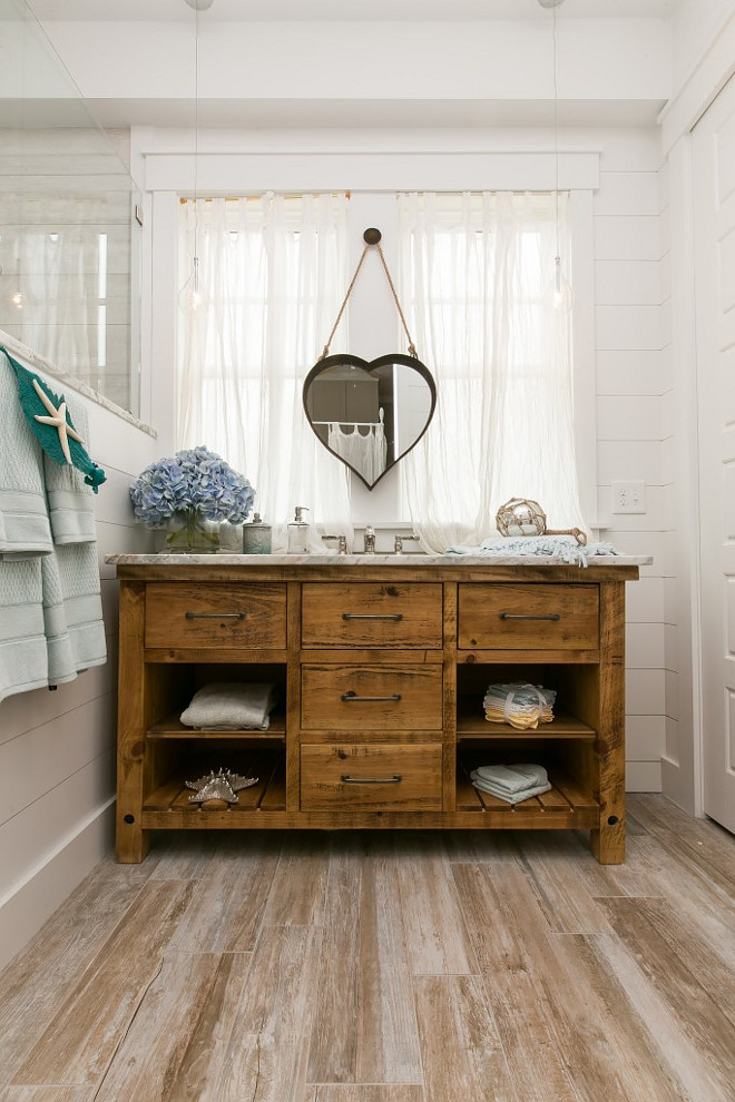 Plank Wood Tile. Bathroom with Plank Wood Tile, Shiplap Walls and Reclaimed Wood Vanity. Bathroom with Plank Wood Tile. Bathroom Shiplap Walls. Bathroom Reclaimed Wood Vanity #Bathroom #PlankWoodTile #Woodtile #ShiplapWalls #ReclaimedWoodVanity Coralberry Cottage