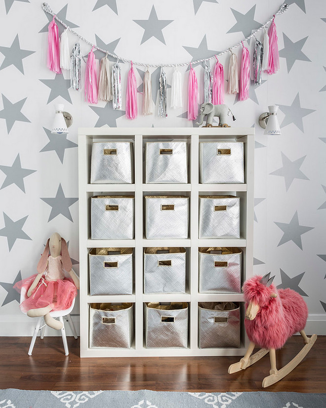 Playroom Nursery Storage. Playroom Nursery Storage Ideas. The shelf is from Ikea and the storage bins are available at Serena & Lily.  #Playroom #Nursery #Storage #PlayroomStorage #NurseryStorage Sissy+Marley