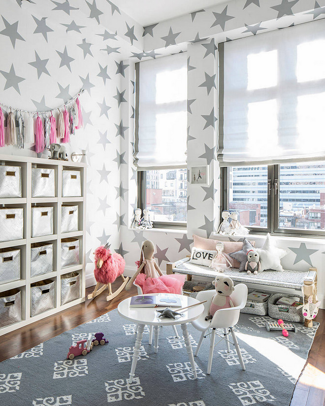 Playroom wall decor. Playroom wall decor and wallpaper. This Lucky Star wallpaper in silver metallic is by SISSY+MARLEY for Jill Malek. #playroom #playroomwallpaper #playroomwalldecor #playrooms #wallpaper #walldecor Sissy+Marley