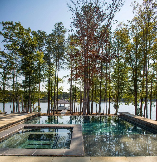 Pool and spa. Pool and spa layout. Lakehouse backyard with pool and spa. #Pool #Spa Heather Garrett Design