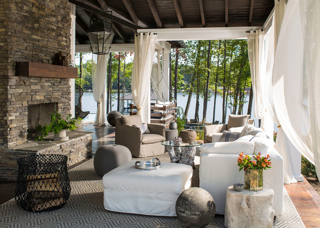 Porch Fireplace. Wrap round porch with fireplace. Wrap round porch with outdoor fireplace #Wraproundporch #porch #fireplace #outdoorfireplace Heather Garrett Design