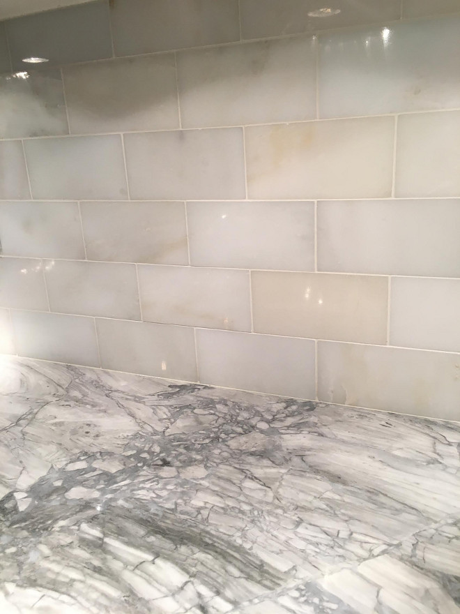 Quartzite Countertop with Marble Backsplash. Marble Backsplash: Polished Carrara Subway Tiles. Quartzite countertop is SuperWhite Quartzite. #Backsplash #PolishedCarraraSubwayTiles # Quartzite #countertop #SuperWhiteQuartzite Tile Beautiful Homes of Instagram Sumhouse_Sumwear